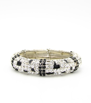 Crystal Pave enamel Stretch Bangle Bracelet