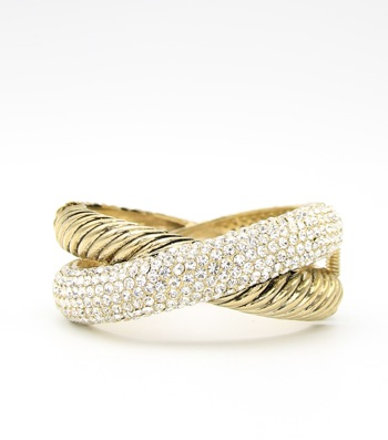 Crystal Pave Crisscross Hinge Bangle Bracelet