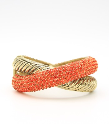 Crystal Pave Criss Cross Hinge Bangle Bracelet