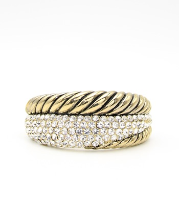 Texture Crystal Pave Bangle Bracelet