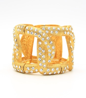 Crystal Pave Metal Links Bangle Bracelet