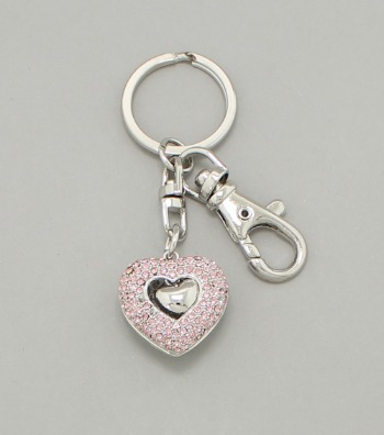Filigree Crystal Heart Key Chain / Bag Charm