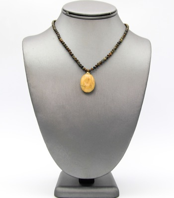 Natural Stone Beaded Pendant Necklace