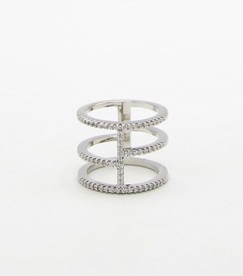 Micro CZ Pave Bars Sized Ring