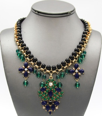 Beaded Pendant Collar Necklace