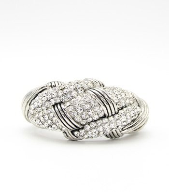 Crystal Pave Statement Hinge Bangle Bracelet