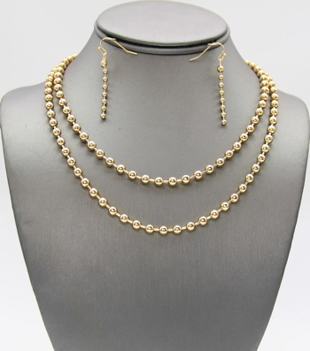 Metal Beaded Layered Necklace Set
