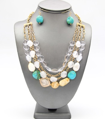 Assorted Multicolor Beads Layered Necklace Set