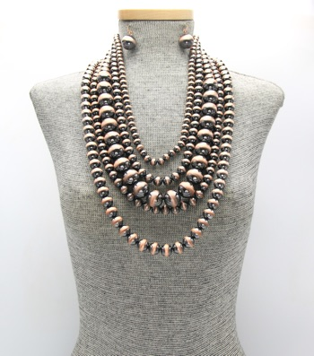 Statement Mulit-Strand Navajo Pearl Beaded Necklace Set
